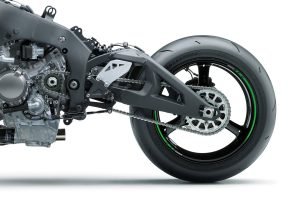 The typical sportbike has the countershaft in front of and slightly above the swingarm pivot, giving the motorcycle anti-squat geometry. (Courtesy of Kawasak)